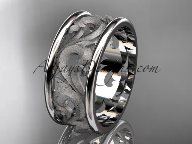 Platinum leaf and vine wedding ring, engagement ring, wedding band ADLR121 - AnjaysDesigns