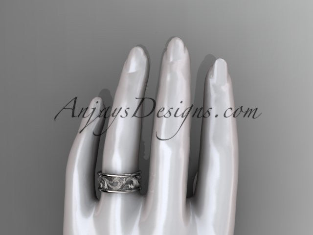 14kt white gold leaf engagement ring, wedding band ADLR121G - AnjaysDesigns