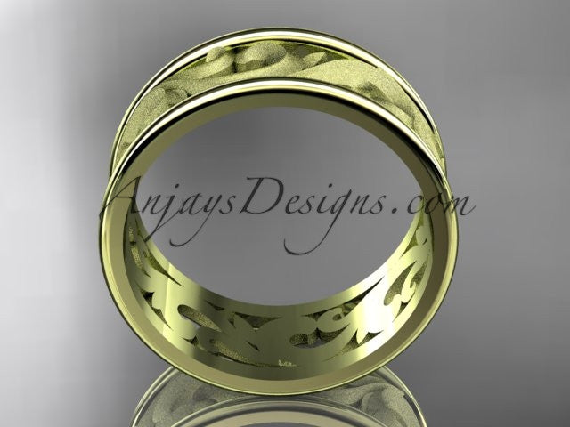 14kt yellow gold leaf and vine wedding ring, engagement ring, wedding band ADLR121 - AnjaysDesigns