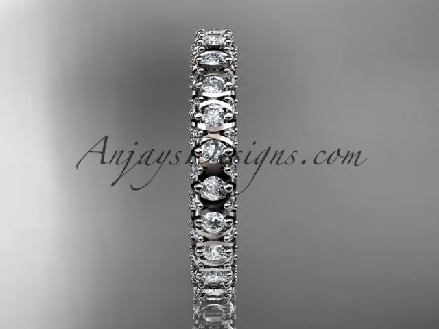 14kt white gold diamond wedding ring, engagement ring, wedding band, eternity ring ADLR123 - AnjaysDesigns