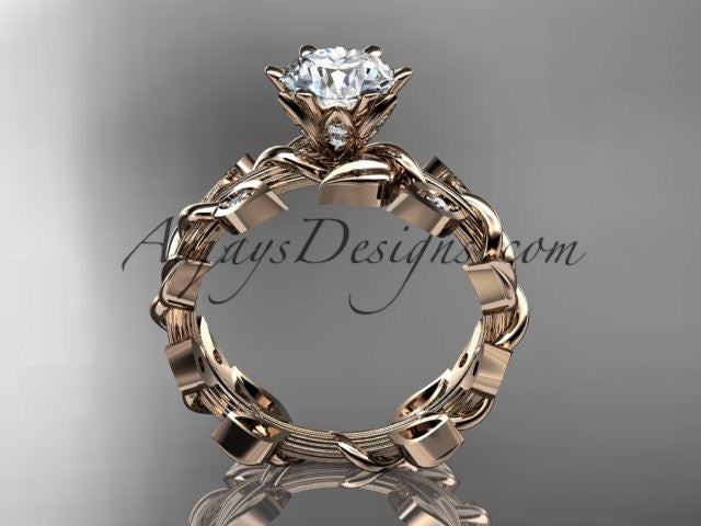 14kt rose gold diamond leaf and vine engagement ring ADLR124 - AnjaysDesigns