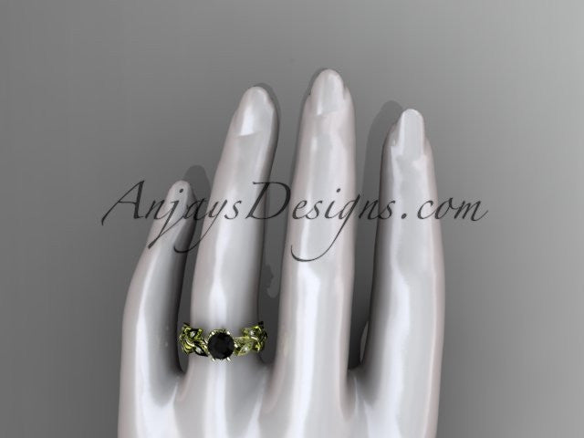 14k yellow gold diamond leaf and vine engagement ring with a Black Diamond center stone ADLR124 - AnjaysDesigns