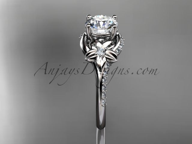 14kt white gold diamond floral wedding ring, engagement ring ADLR125 - AnjaysDesigns