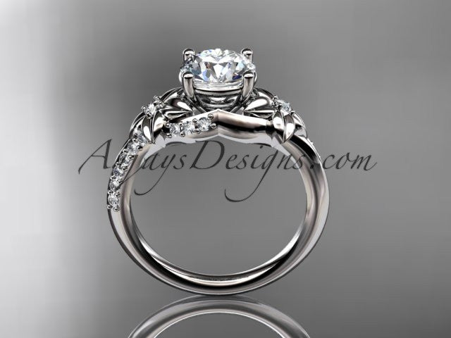 platinum diamond floral wedding ring, engagement ring ADLR125 - AnjaysDesigns
