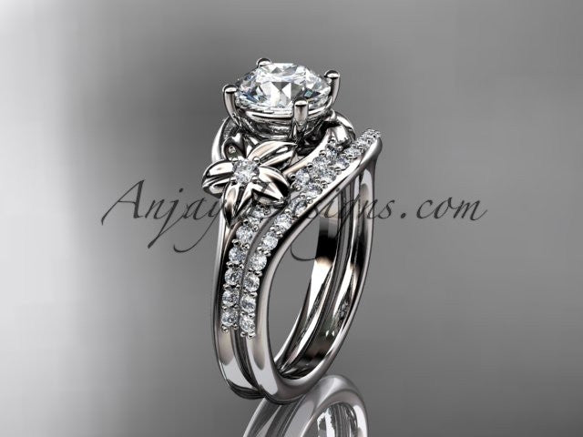 14kt white gold diamond floral wedding set, engagement set ADLR125S - AnjaysDesigns