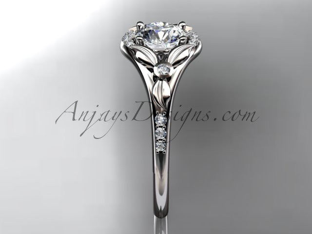 "14kt white gold diamond floral wedding ring, engagement ring with a ""Forever One"" Moissanite center stone ADLR126 - AnjaysDesigns"