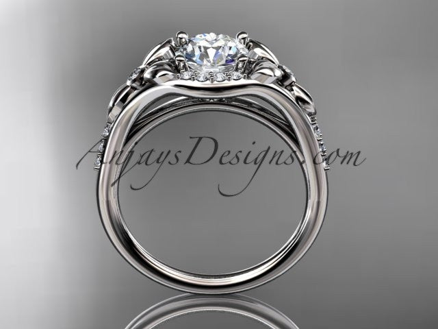 14kt white gold diamond floral wedding ring, engagement ring ADLR126 - AnjaysDesigns