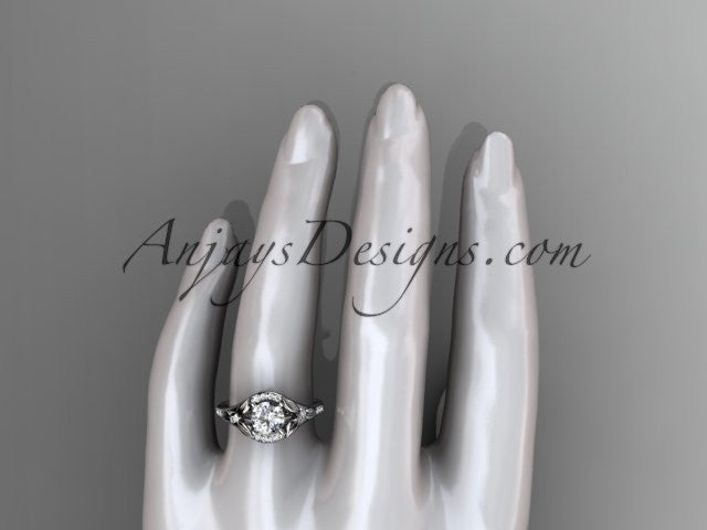 platinum diamond floral wedding ring, engagement ring ADLR126 - AnjaysDesigns