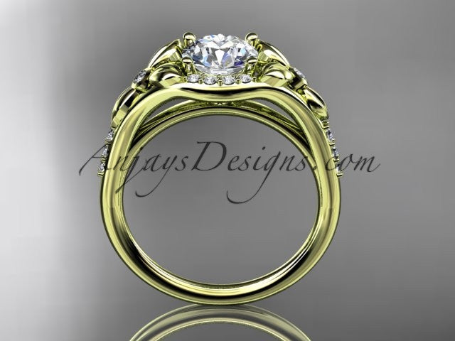14kt yellow gold diamond floral wedding ring, engagement ring ADLR126 - AnjaysDesigns