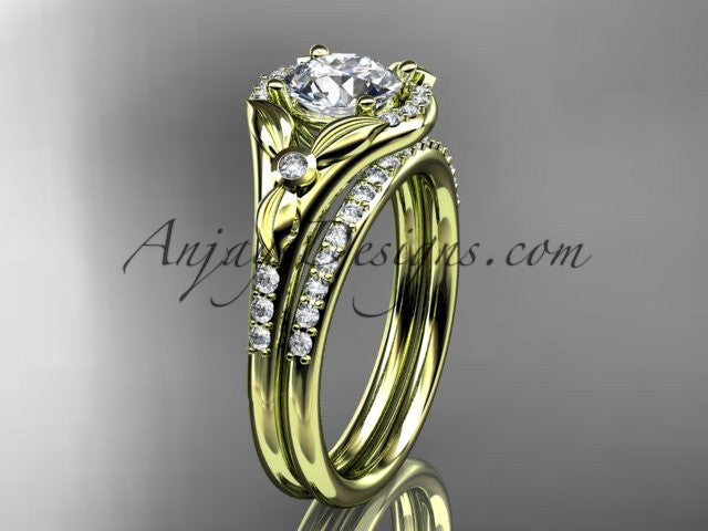 14kt yellow gold diamond floral wedding ring, engagement set ADLR126S - AnjaysDesigns
