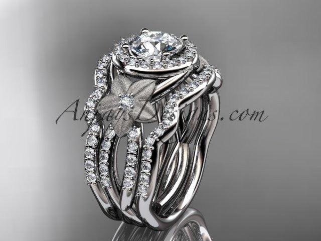 14kt white gold diamond floral wedding ring, engagement ring with a double matching band ADLR127S - AnjaysDesigns
