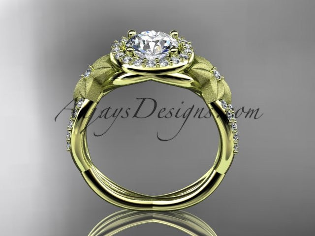 14kt yellow gold diamond leaf and vine wedding ring, engagement ring ADLR127 - AnjaysDesigns
