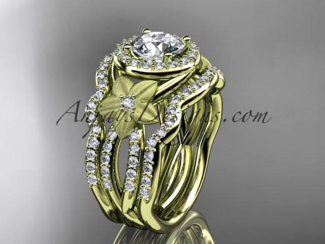 14kt yellow gold diamond floral wedding ring, engagement ring with a double matching band ADLR127S - AnjaysDesigns
