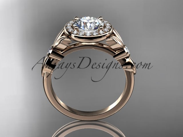 14kt rose gold diamond floral wedding ring, engagement ring ADLR129 - AnjaysDesigns