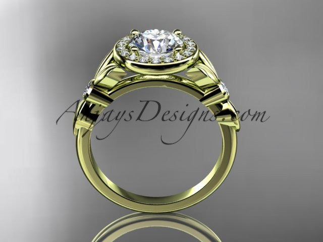 14kt yellow gold diamond floral wedding ring, engagement ring ADLR129 - AnjaysDesigns