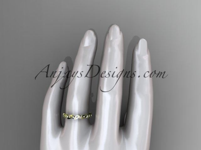 14k yellow gold diamond leaf and vine wedding band,engagement ring ADLR12B - AnjaysDesigns