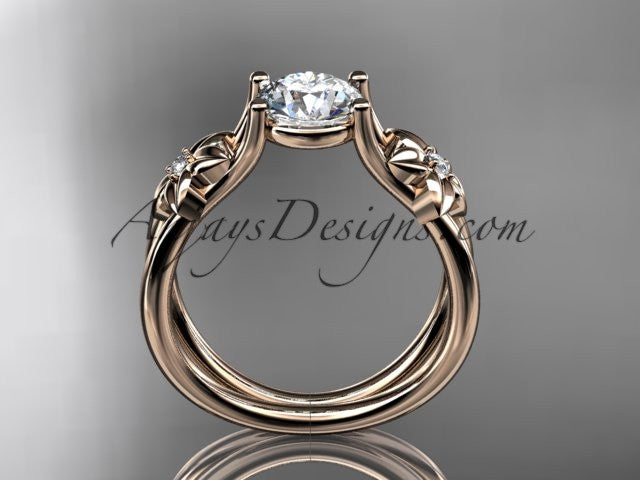 14kt rose gold diamond floral wedding ring, engagement ring ADLR130 - AnjaysDesigns