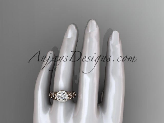 14kt rose gold diamond floral wedding ring, engagement ring ADLR131 - AnjaysDesigns
