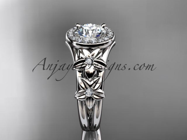 14kt white gold diamond floral wedding ring, engagement ring ADLR131 - AnjaysDesigns