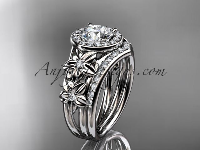 14kt white gold diamond floral wedding ring, engagement set ADLR131S - AnjaysDesigns