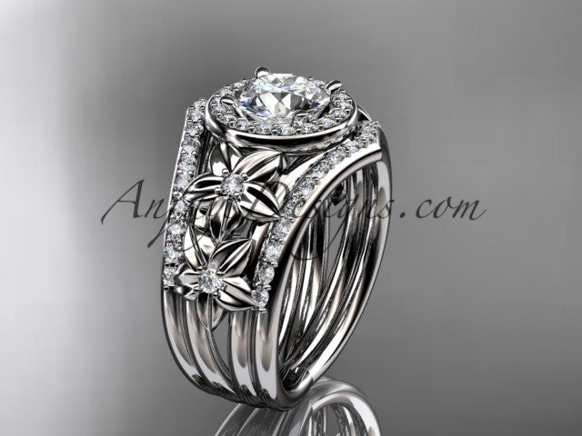 14kt white gold diamond floral wedding ring, engagement ring with double matching band ADLR131S - AnjaysDesigns