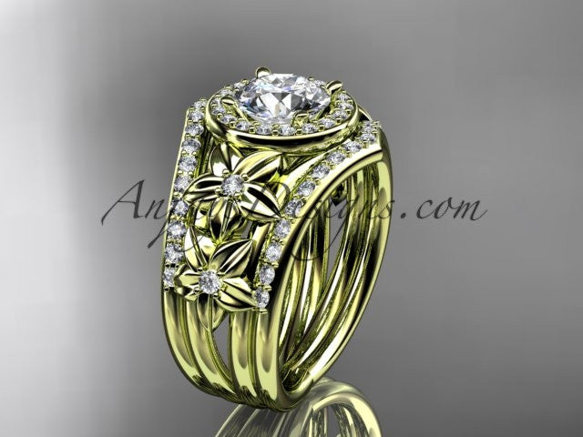 14kt yellow gold diamond floral wedding ring, engagement ring with double matching band ADLR131S - AnjaysDesigns