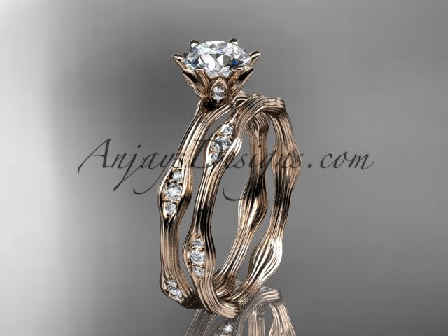 14k rose gold diamond leaf and vine wedding ring, engagement ring, engagement set ADLR132S - AnjaysDesigns