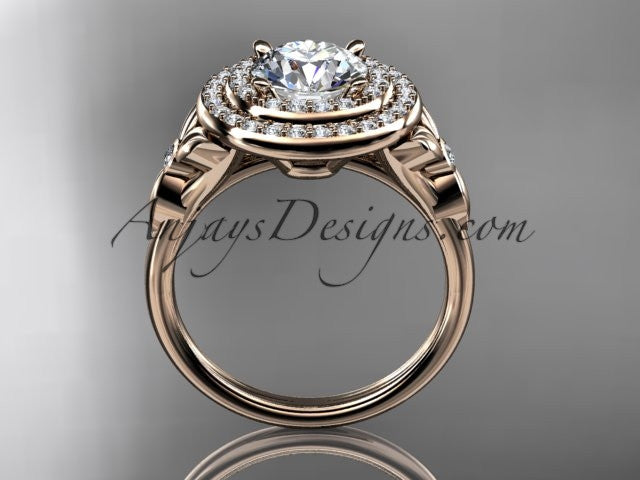 14kt rose gold diamond floral wedding ring, engagement ring ADLR133 - AnjaysDesigns