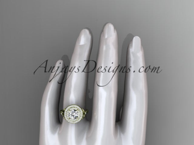 14kt yellow gold diamond floral wedding ring, engagement ring ADLR133 - AnjaysDesigns