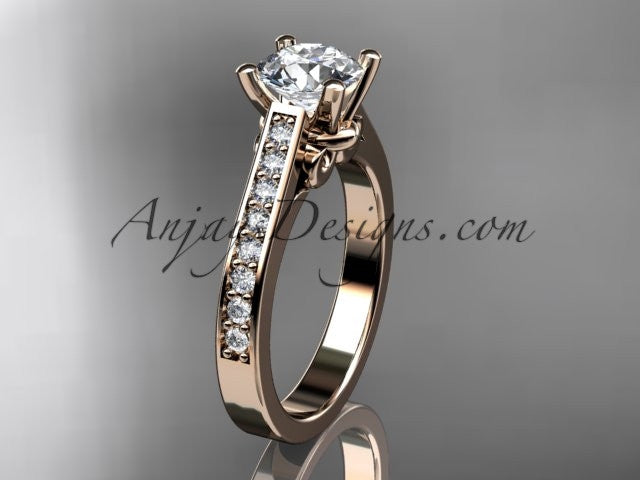 14kt rose gold diamond unique engagement ring, wedding ring ADER134 - AnjaysDesigns