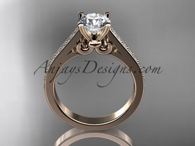 "14kt rose gold diamond unique engagement ring, wedding ring with a ""Forever One"" Moissanite center stone ADER134 - AnjaysDesigns"