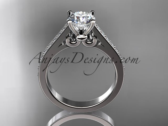 14kt white gold diamond unique engagement ring, wedding ring ADER134 - AnjaysDesigns