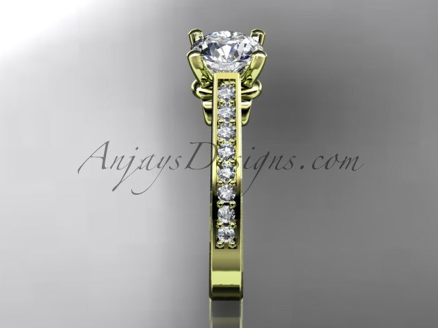 "14kt yellow gold diamond unique engagement ring, wedding ring with a ""Forever One"" Moissanite center stone ADER134 - AnjaysDesigns"