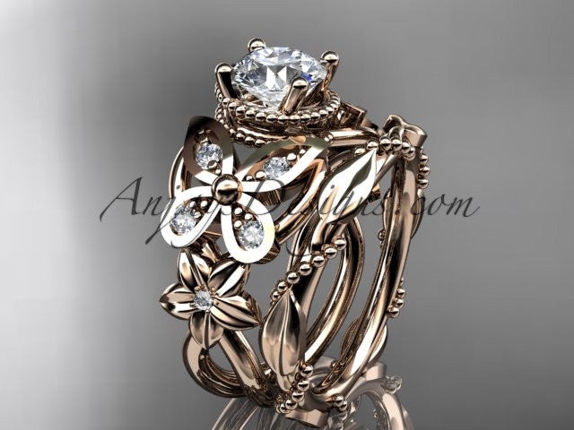 "14kt rose gold diamond floral, butterfly wedding ring, engagement set with a ""Forever One"" Moissanite center stone ADLR136S - AnjaysDesigns"