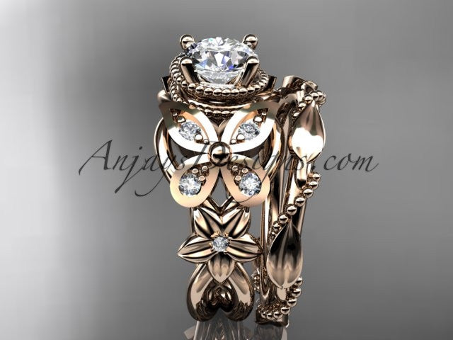 14kt rose gold diamond floral, butterfly wedding ring, engagement set ADLR136S - AnjaysDesigns