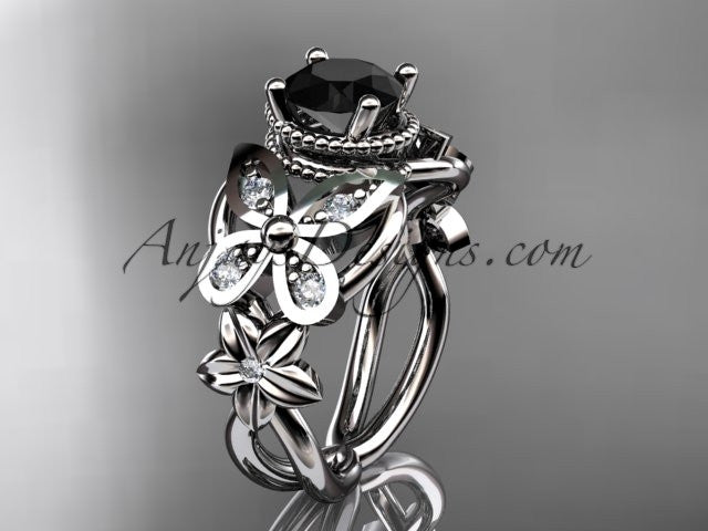 14kt white gold diamond floral, butterfly wedding ring, engagement ring with a Black Diamond center stone ADLR136 - AnjaysDesigns
