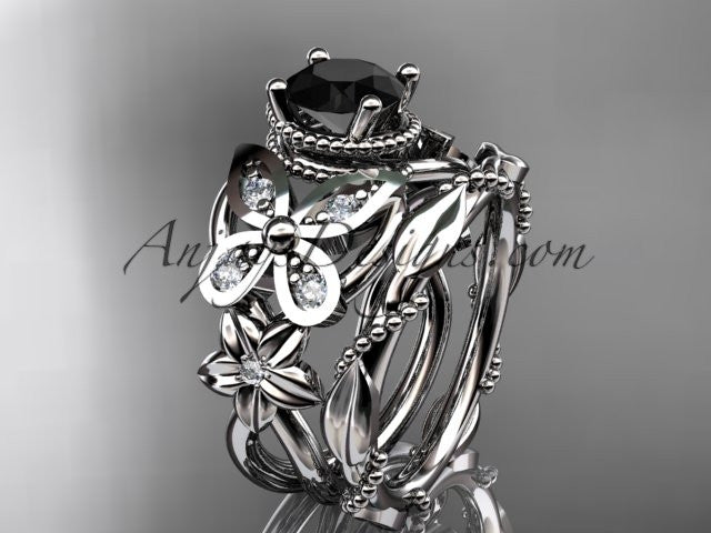 platinum diamond floral, butterfly wedding ring, engagement set with a Black Diamond center stone ADLR136S - AnjaysDesigns