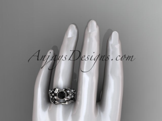 14kt white gold diamond floral, butterfly wedding ring, engagement set with a Black Diamond center stone ADLR136S - AnjaysDesigns
