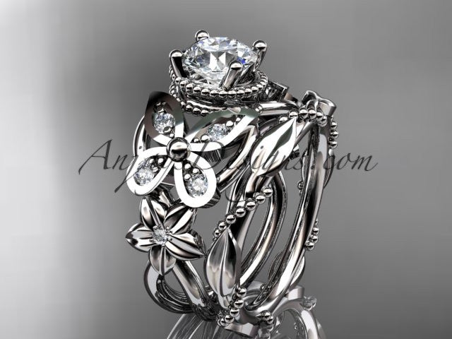 "Platinum diamond floral, butterfly wedding ring, engagement set with a ""Forever One"" Moissanite center stone ADLR136S - AnjaysDesigns"