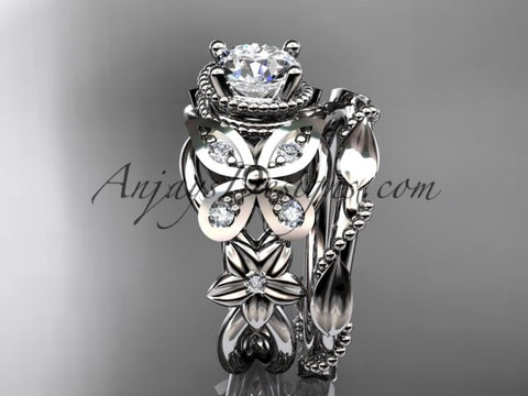 platinum diamond floral butterfly wedding ring engagement set adlr136s anjaysdesigns - Butterfly Wedding Ring