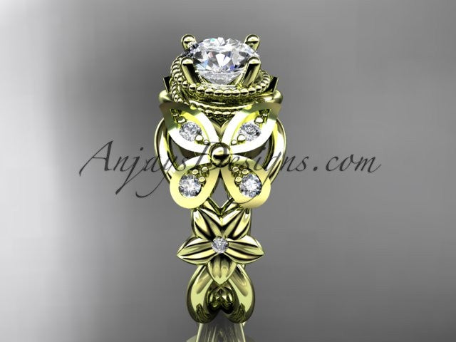 14kt yellow gold diamond floral, butterfly wedding ring, engagement ring, wedding band ADLR136 - AnjaysDesigns