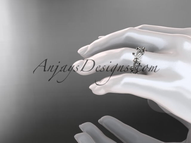 platinum diamond floral butterfly wedding ring, engagement ring, wedding band ADLR138 - AnjaysDesigns