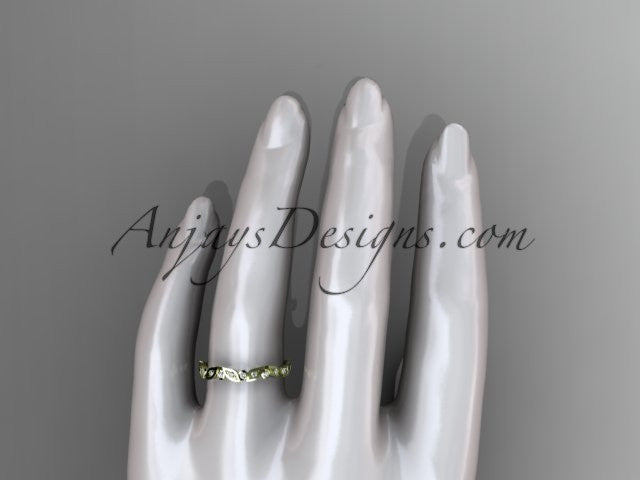 14k yellow gold diamond leaf and vine wedding band,engagement ring ADLR13B - AnjaysDesigns