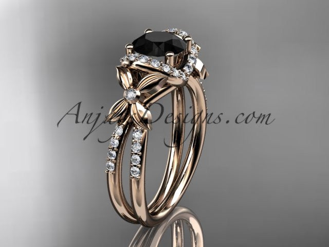 14kt rose gold diamond floral wedding ring, engagement ring with a Black Diamond center stone ADLR140 - AnjaysDesigns