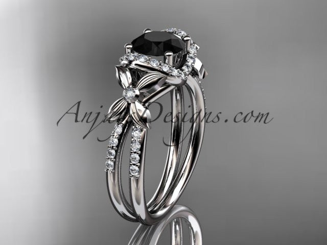 platinum diamond floral wedding ring, engagement ring with a Black Diamond center stone ADLR140 - AnjaysDesigns