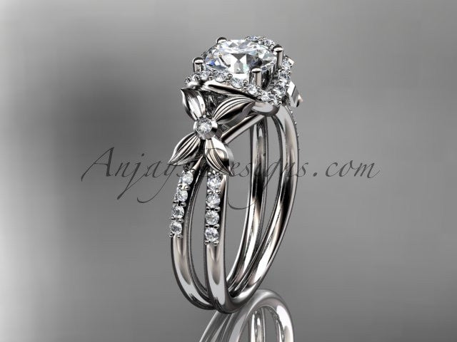 "14kt white gold diamond floral wedding ring, engagement ring with a ""Forever One"" Moissanite center stone ADLR140 - AnjaysDesigns"