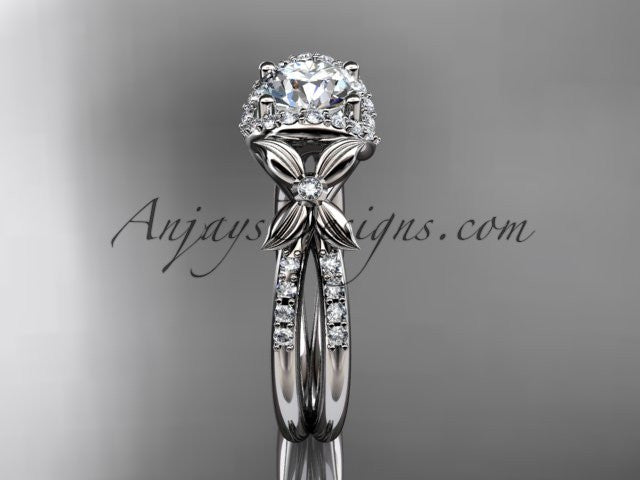 14kt white gold diamond floral wedding ring, engagement ring ADLR140 - AnjaysDesigns