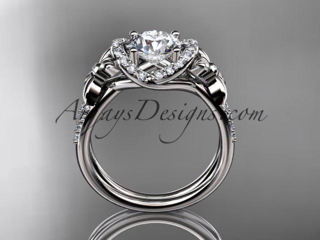 platinum diamond floral wedding ring, engagement ring ADLR140 - AnjaysDesigns