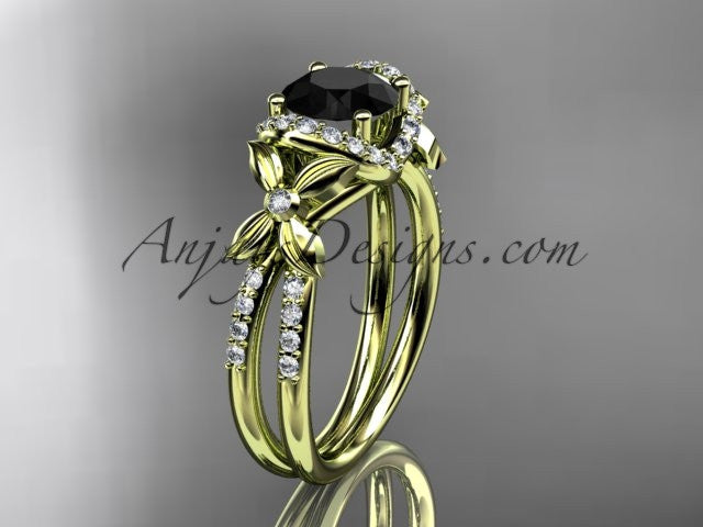 14kt yellow gold diamond floral wedding ring, engagement ring with a Black Diamond center stone ADLR140 - AnjaysDesigns