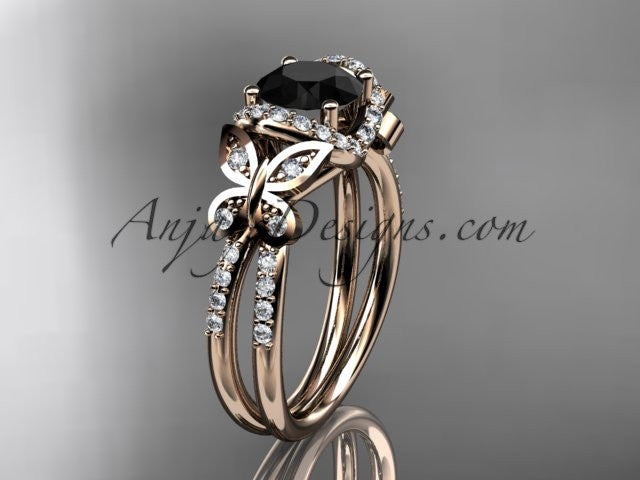 14kt rose gold diamond butterfly wedding ring, engagement ring with a Black Diamond center stone ADLR141 - AnjaysDesigns
